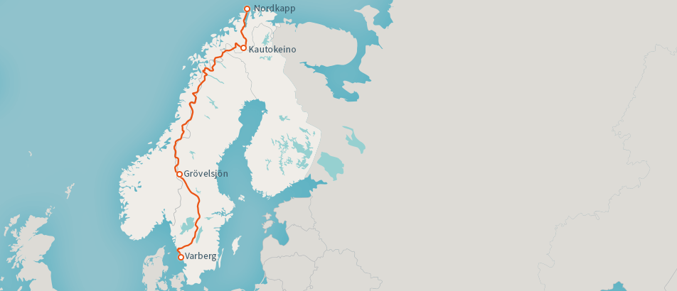 Map of E1 in Scandinavia: Norway, Finland and Sweden